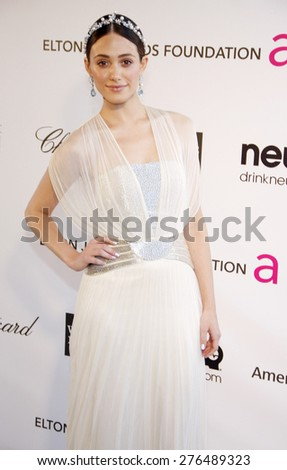 Emmy Rossum at the 21st Annual Elton John AIDS Foundation Academy Awards Viewing Party held at the Pacific Design Center in West Hollywood on February 24, 2013. - stock photo