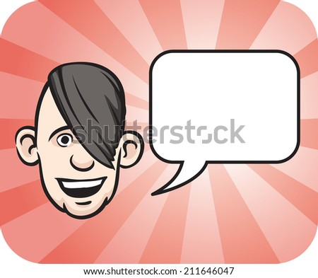 Emo face with speech bubble - stock photo