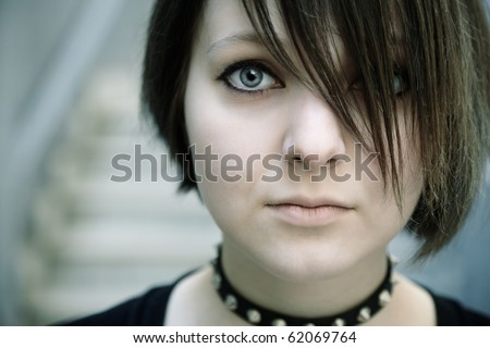 emo or goth young woman - stock photo