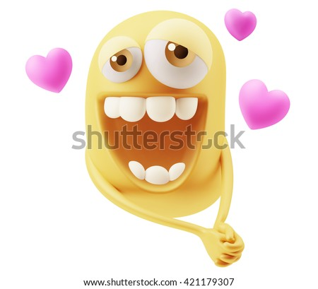 Emoji in love with hearts shapes. 3d Rendering. - stock photo