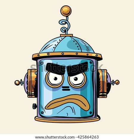 emoticon angry emoji robot head smiley emotion - stock photo