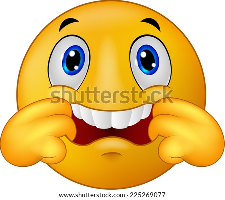 Emoticon smiley making a teasing face - stock photo