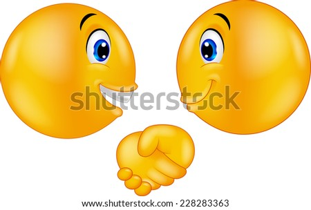 Emoticons shaking hands - stock photo