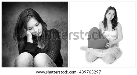Emotion concept, two portraits of the same young girl, left photo: sad and depressed, right photo: positive and happy, black and white - stock photo