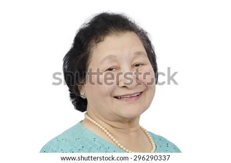 emotion elderly face on  white background - stock photo