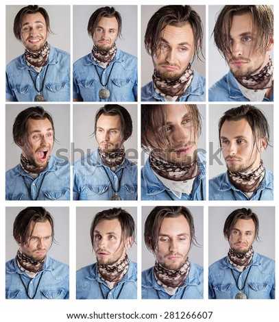 Emotion man. Face close up. Different expressions of the face of a young man. True emotions. Collage of handsome young man expressing different emotions while standing against gray background - stock photo
