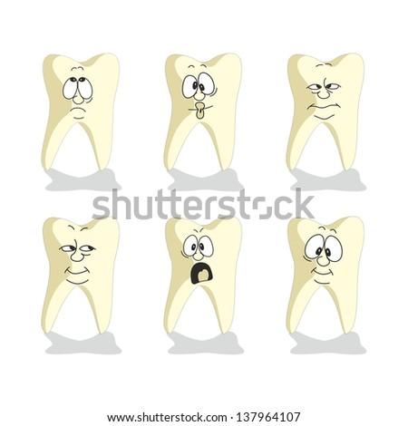 Emotion tooth cartoon set 007 - stock photo