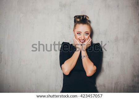 Emotion woman portrait. Surprised. Smile. Emotion concept - stock photo