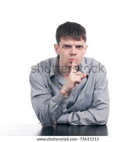 Emotional business man. Studio shot isolated on white background - stock photo