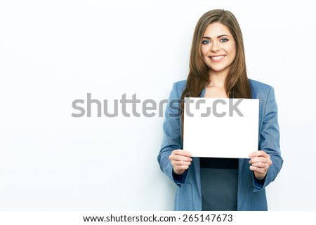 Emotional Business Woman hold white blank board. Smiling female model. - stock photo