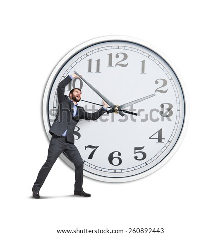 emotional businessman trying to stop a time. isolated on white background - stock photo