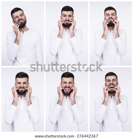 Emotional faces of a man with beard. Isolated on a light background. - stock photo