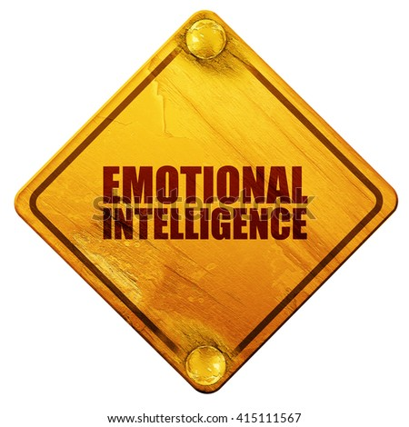 emotional intelligence, 3D rendering, isolated grunge yellow road sign - stock photo