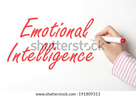Emotional intelligence on whiteboard - stock photo