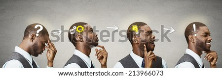 Emotional intelligence. Side view headhots sequence man thoughtful, thinking, finding solution, gear mechanism, question, exclamation, lightbulb isolated grey wall background. Human face expression - stock photo