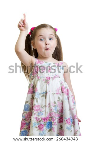 emotional kid girl points a finger isolated on white - stock photo