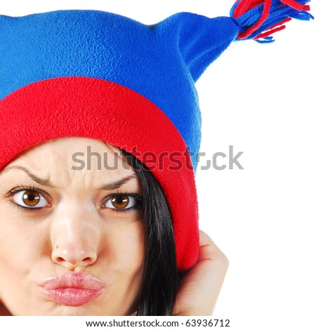 emotional model in hat - stock photo