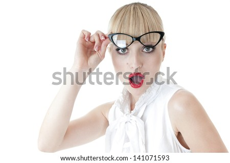 Emotional portrait of  pretty business woman  surprised face expression. - stock photo