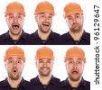 emotional portrait of the builder on a white background - stock photo
