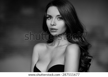Emotional portrait of young beautiful pretty girl. Stylish fashion dramatic portrait - stock photo