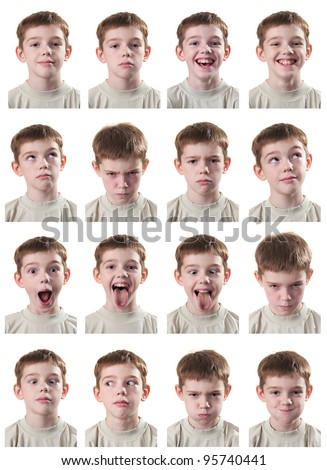 Emotional portraits of a teenager with a white background - stock photo