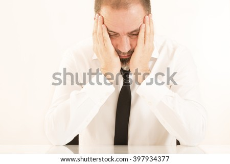 Emotional Stress business man - stock photo