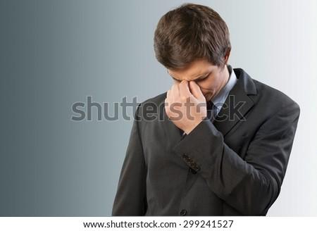 Emotional Stress, Headache, Men. - stock photo