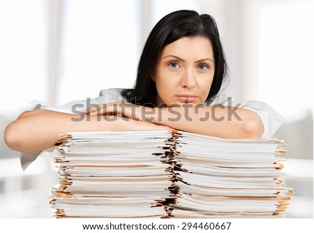 Emotional Stress, Paperwork, Women. - stock photo