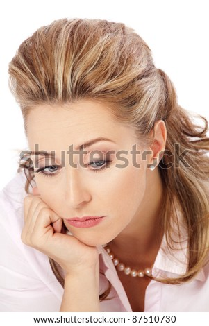 Emotions / Close up portrait of a concerned beautiful blond woman - stock photo
