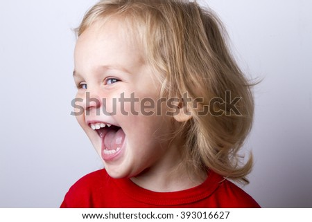 emotions funny little girl screaming close up - stock photo