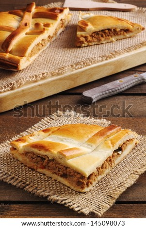 Empanada Gallega, Traditional pie stuffed with tuna fish typical from Galicia, Spain - stock photo
