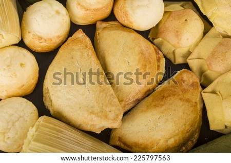 empanadas sweet patties traditional ecuadorian food close up - stock photo