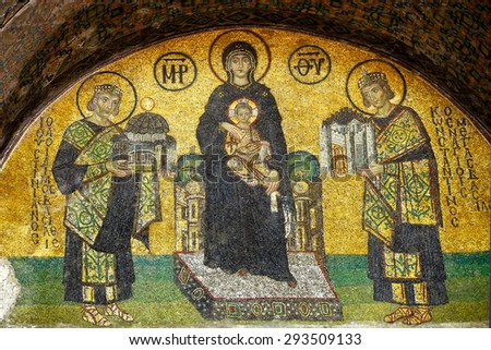 Emperor Constantin and Justinian presenting Constantinople with St.Sophia basilica to Virgin Mary (Holding the Christ Child). Byzantine mosaic art. - stock photo