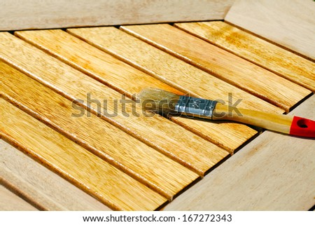 Emphasize wooden table with half oil  - stock photo