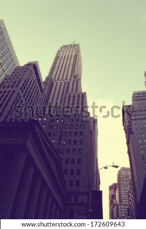 Empire State Building view from street - stock photo