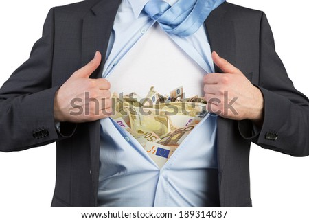 Employee and euro chest 2 - stock photo