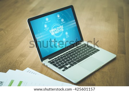 EMPLOYEE BENEFITS chart with keywords and icons on screen - stock photo