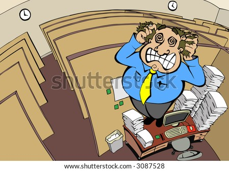 Employee cracks under stress (also available in vector format) - stock photo