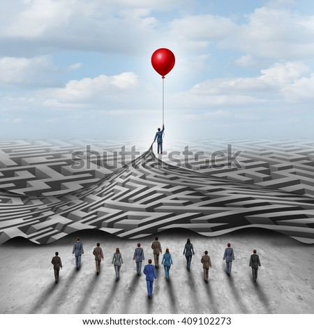 Employee leadership solution and workforce leader management with a businessman holding a balloon lifting a complicated 3D illustration maze opened up for a group of employees. - stock photo