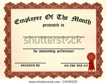Employee of the Month Certificate - fill in the blanks - stock photo