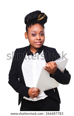 employee of the office, African-American holds a folder - stock photo