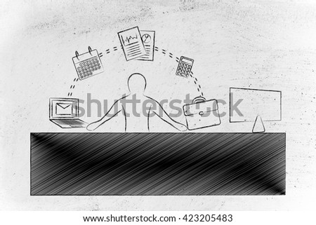 employee or ceo juggling tasks and business objects at the office - stock photo