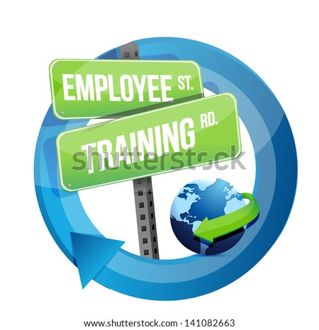 employee training road sign illustration design over white - stock photo