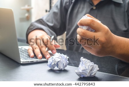 Employees to think and not Work with stress Pretending - stock photo