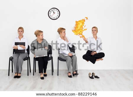 Employees with special skills wanted concept - the fire sorcerer - stock photo