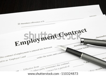 employment contract document form with pen - stock photo