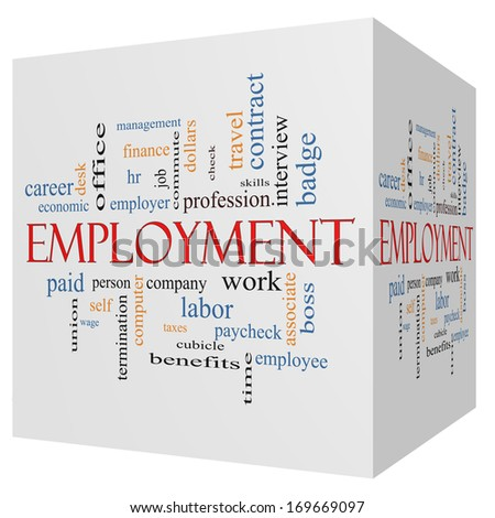 Employment 3D Cube Word Cloud Concept with great terms such as work, company, boss, job and more. - stock photo