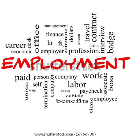 Employment Word Cloud Concept in red caps with great terms such as work, company, boss, job and more. - stock photo