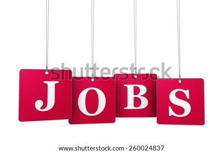 Employment, work and job concept with jobs sign on red tags for website and online business. - stock photo