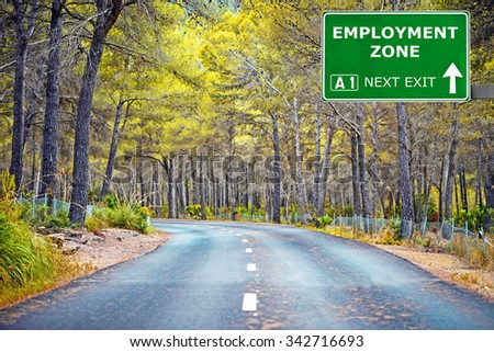 EMPLOYMENT ZONE road sign against clear blue sky - stock photo